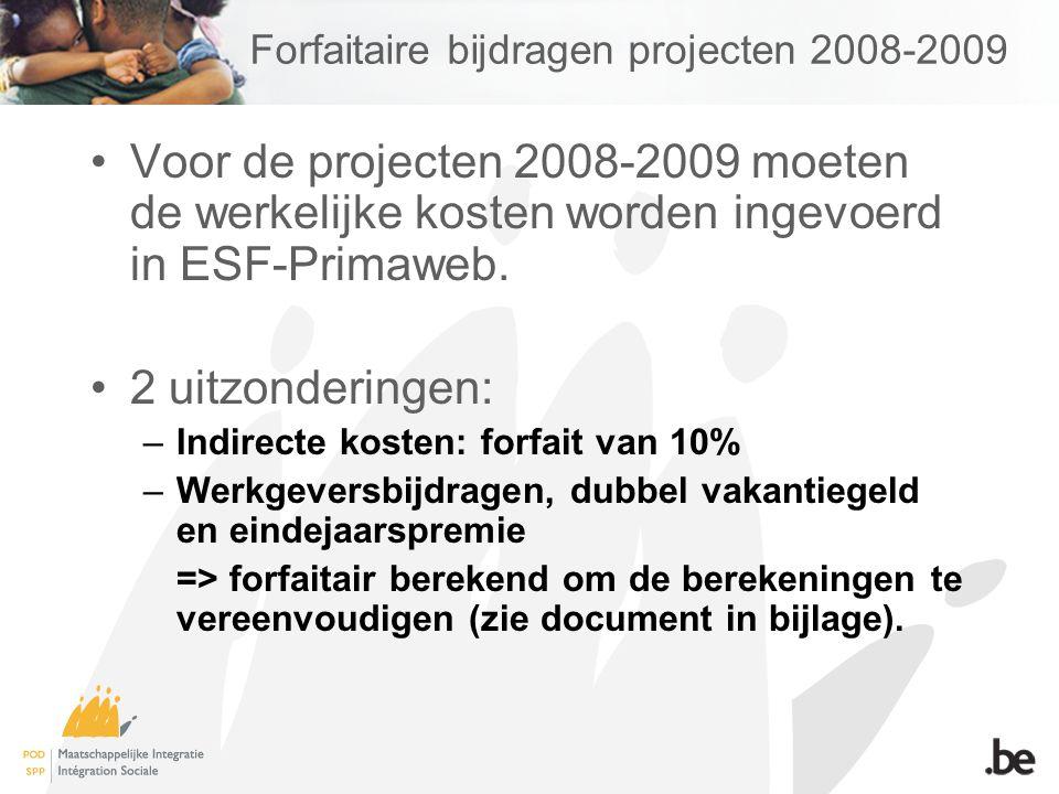Forfaitaire bijdragen projecten 2008-2009 Begeleiders Uurloon * gepresteerde ESF-uren + eindejaarspremie (3%) + dubbel vakantiegeld (7 %) + werkgeversbijdragen min verminderingen (21 %)