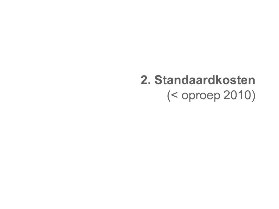 2. Standaardkosten (< oproep 2010)