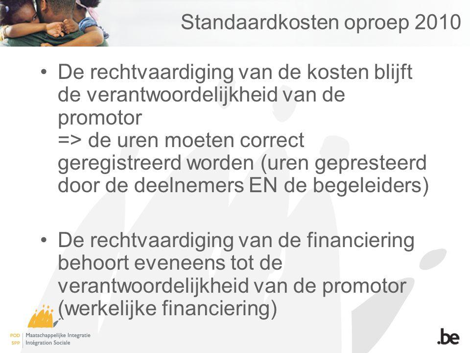 Standaardkosten oproep 2010 De rechtvaardiging van de kosten blijft de verantwoordelijkheid van de promotor => de uren moeten correct geregistreerd wo