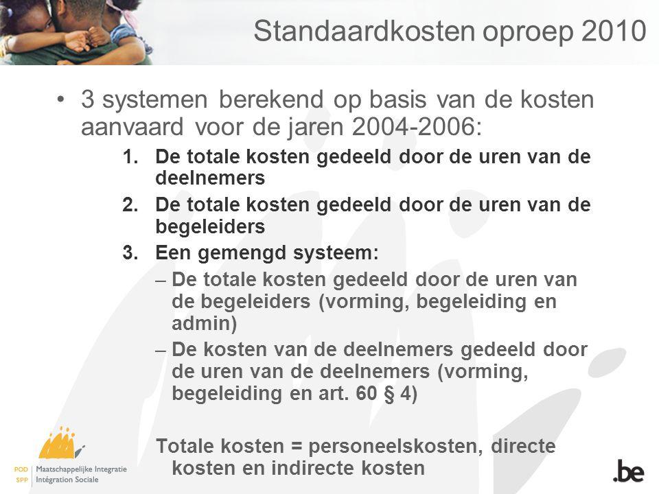Standaardkosten oproep 2010 Het gemengde systeem is het meest rechtvaardige: –In het systeem uurkostprijs per begeleider wordt geen rekening gehouden met het aantal deelnemers.