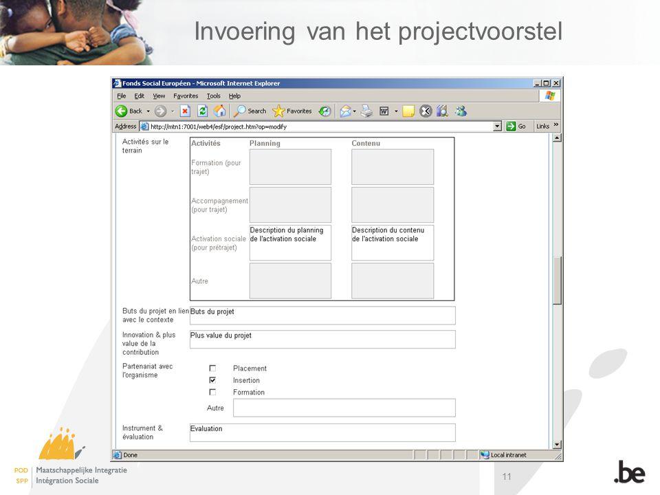 11 Invoering van het projectvoorstel