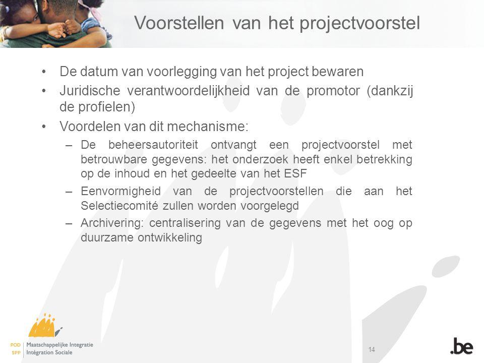 14 Voorstellen van het projectvoorstel De datum van voorlegging van het project bewaren Juridische verantwoordelijkheid van de promotor (dankzij de profielen) Voordelen van dit mechanisme: –De beheersautoriteit ontvangt een projectvoorstel met betrouwbare gegevens: het onderzoek heeft enkel betrekking op de inhoud en het gedeelte van het ESF –Eenvormigheid van de projectvoorstellen die aan het Selectiecomité zullen worden voorgelegd –Archivering: centralisering van de gegevens met het oog op duurzame ontwikkeling