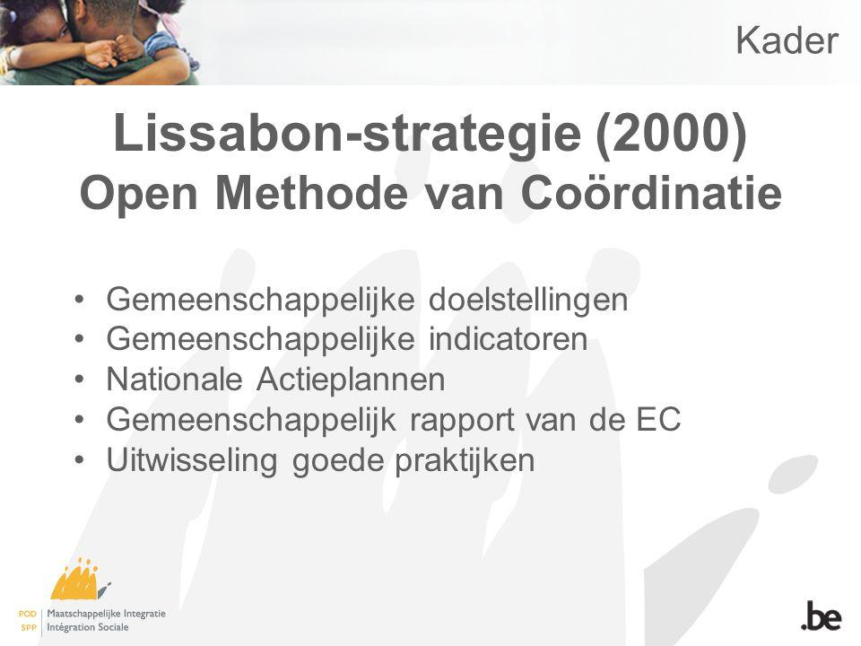 Kader Lissabon-strategie (2000) Open Methode van Coördinatie Gemeenschappelijke doelstellingen Gemeenschappelijke indicatoren Nationale Actieplannen Gemeenschappelijk rapport van de EC Uitwisseling goede praktijken
