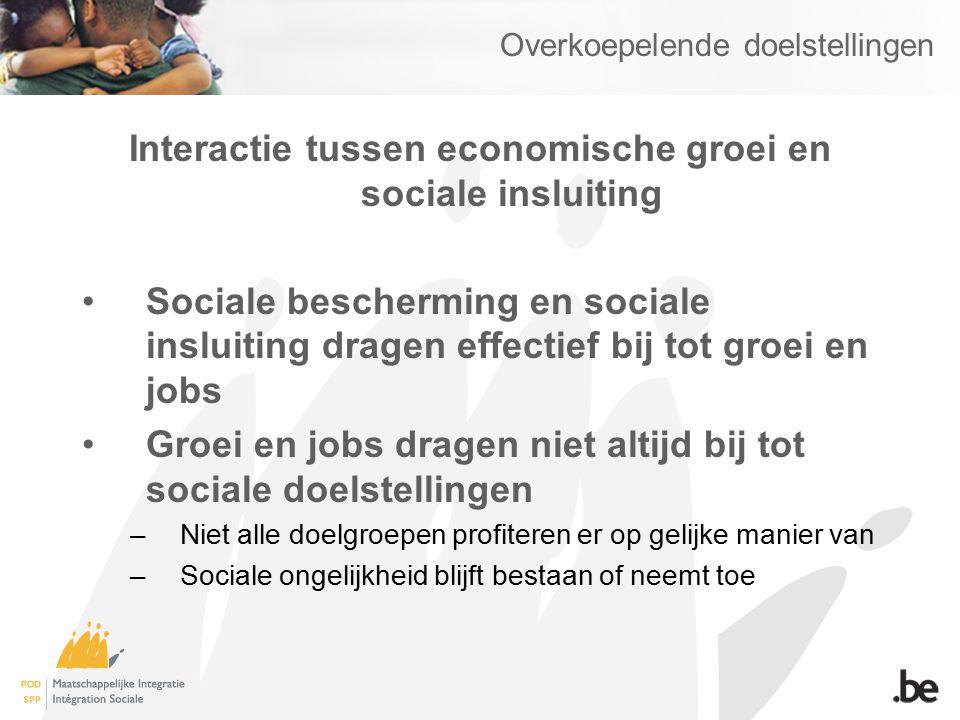Overkoepelende doelstellingen Interactie tussen economische groei en sociale insluiting Sociale bescherming en sociale insluiting dragen effectief bij tot groei en jobs Groei en jobs dragen niet altijd bij tot sociale doelstellingen –Niet alle doelgroepen profiteren er op gelijke manier van –Sociale ongelijkheid blijft bestaan of neemt toe