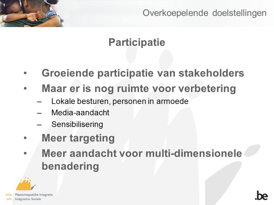 Overkoepelende doelstellingen Participatie Groeiende participatie van stakeholders Maar er is nog ruimte voor verbetering –Lokale besturen, personen in armoede –Media-aandacht –Sensibilisering Meer targeting Meer aandacht voor multi-dimensionele benadering