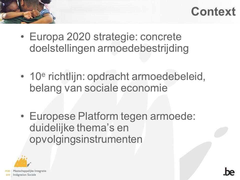 Context Europa 2020 strategie: concrete doelstellingen armoedebestrijding 10 e richtlijn: opdracht armoedebeleid, belang van sociale economie Europese Platform tegen armoede: duidelijke thema's en opvolgingsinstrumenten