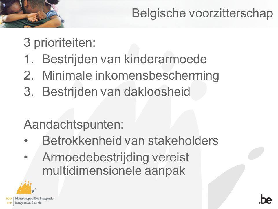 Belgische voorzitterschap 3 prioriteiten: 1.Bestrijden van kinderarmoede 2.Minimale inkomensbescherming 3.Bestrijden van dakloosheid Aandachtspunten: Betrokkenheid van stakeholders Armoedebestrijding vereist multidimensionele aanpak