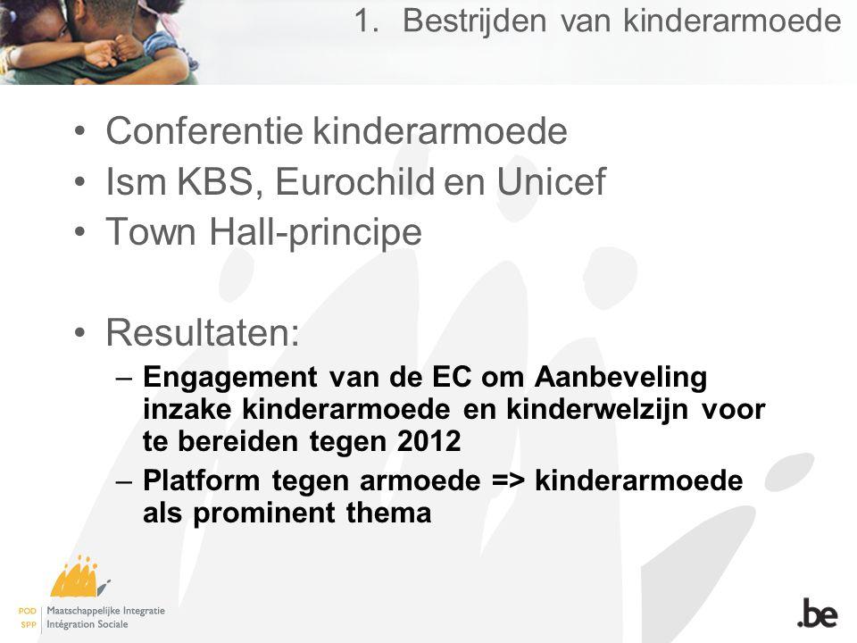 1.Bestrijden van kinderarmoede Conferentie kinderarmoede Ism KBS, Eurochild en Unicef Town Hall-principe Resultaten: –Engagement van de EC om Aanbeveling inzake kinderarmoede en kinderwelzijn voor te bereiden tegen 2012 –Platform tegen armoede => kinderarmoede als prominent thema