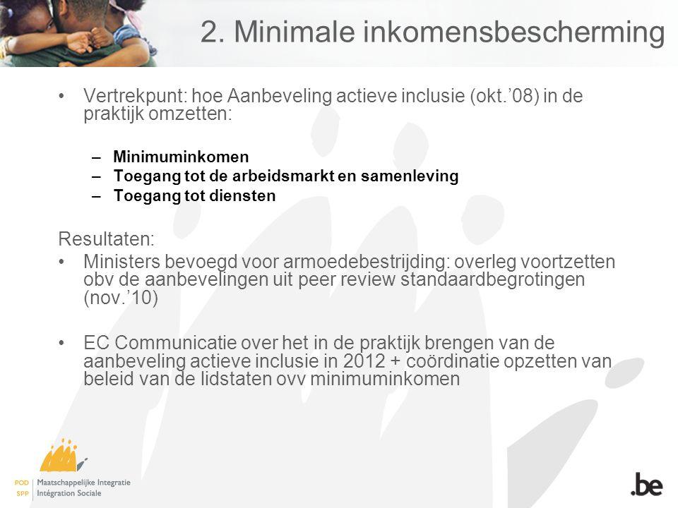 2. Minimale inkomensbescherming Vertrekpunt: hoe Aanbeveling actieve inclusie (okt.'08) in de praktijk omzetten: –Minimuminkomen –Toegang tot de arbei