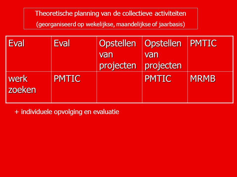 Theoretische planning van de collectieve activiteiten (georganiseerd op wekelijkse, maandelijkse of jaarbasis) EvalEval Opstellen van projecten PMTIC werk zoeken PMTICPMTICMRMB + individuele opvolging en evaluatie