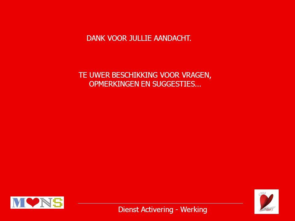 Dienst Activering - Werking DANK VOOR JULLIE AANDACHT.