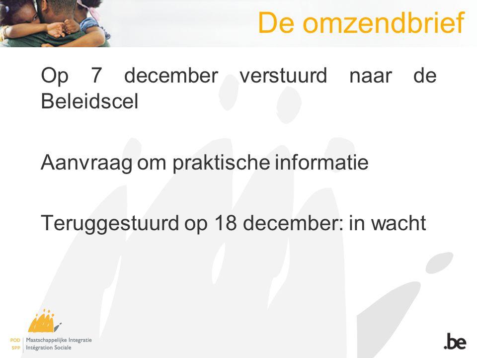 De omzendbrief Op 7 december verstuurd naar de Beleidscel Aanvraag om praktische informatie Teruggestuurd op 18 december: in wacht