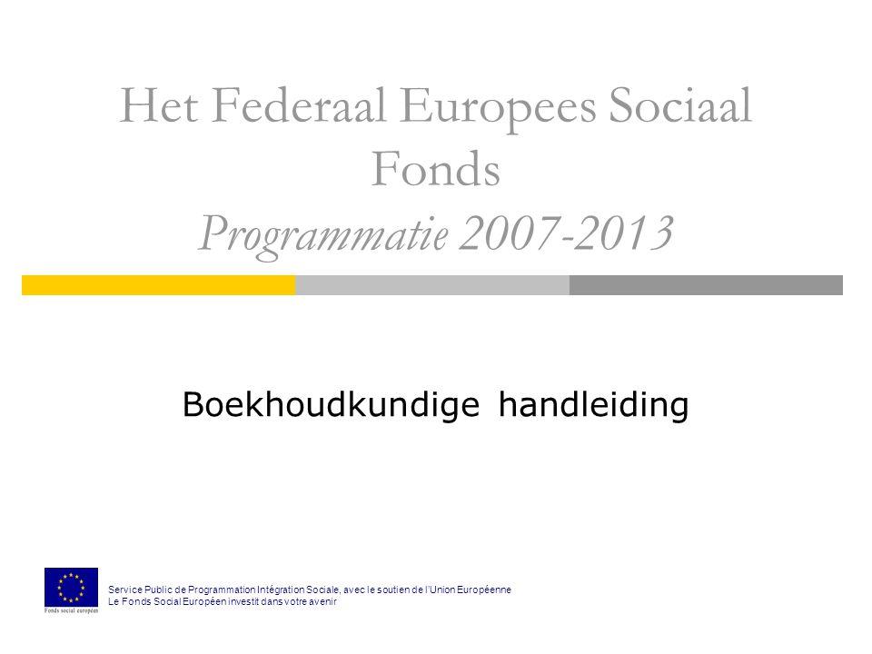 Het Federaal Europees Sociaal Fonds Programmatie 2007-2013 Boekhoudkundige handleiding Service Public de Programmation Intégration Sociale, avec le soutien de l'Union Européenne Le Fonds Social Européen investit dans votre avenir