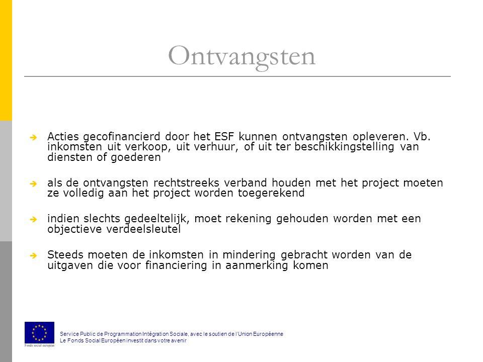Ontvangsten  Acties gecofinancierd door het ESF kunnen ontvangsten opleveren.