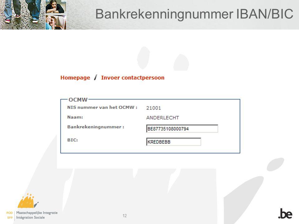 12 Bankrekenningnummer IBAN/BIC