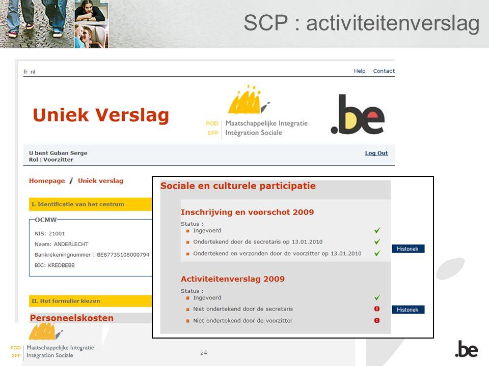 24 SCP : activiteitenverslag