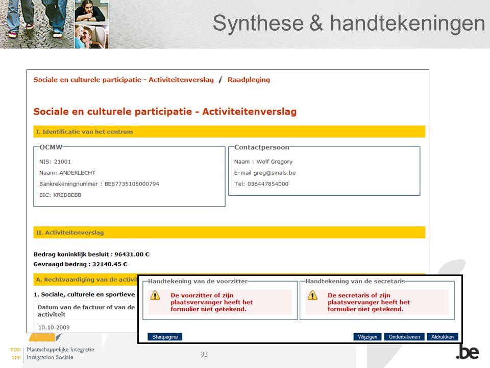 33 Synthese & handtekeningen