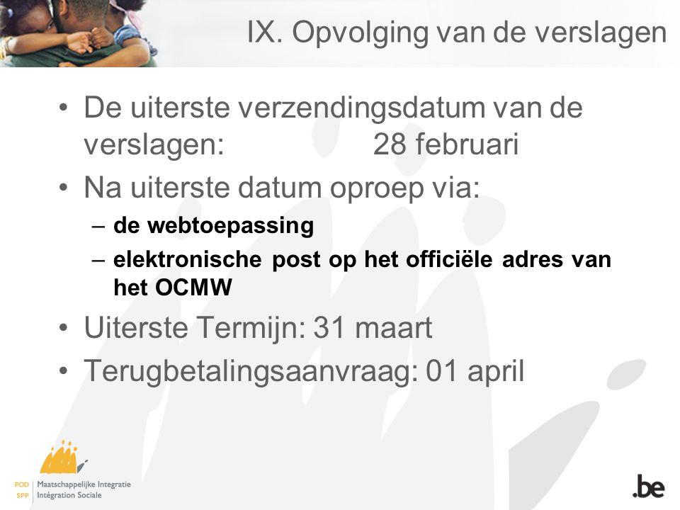 IX. Opvolging van de verslagen De uiterste verzendingsdatum van de verslagen: 28 februari Na uiterste datum oproep via: –de webtoepassing –elektronisc