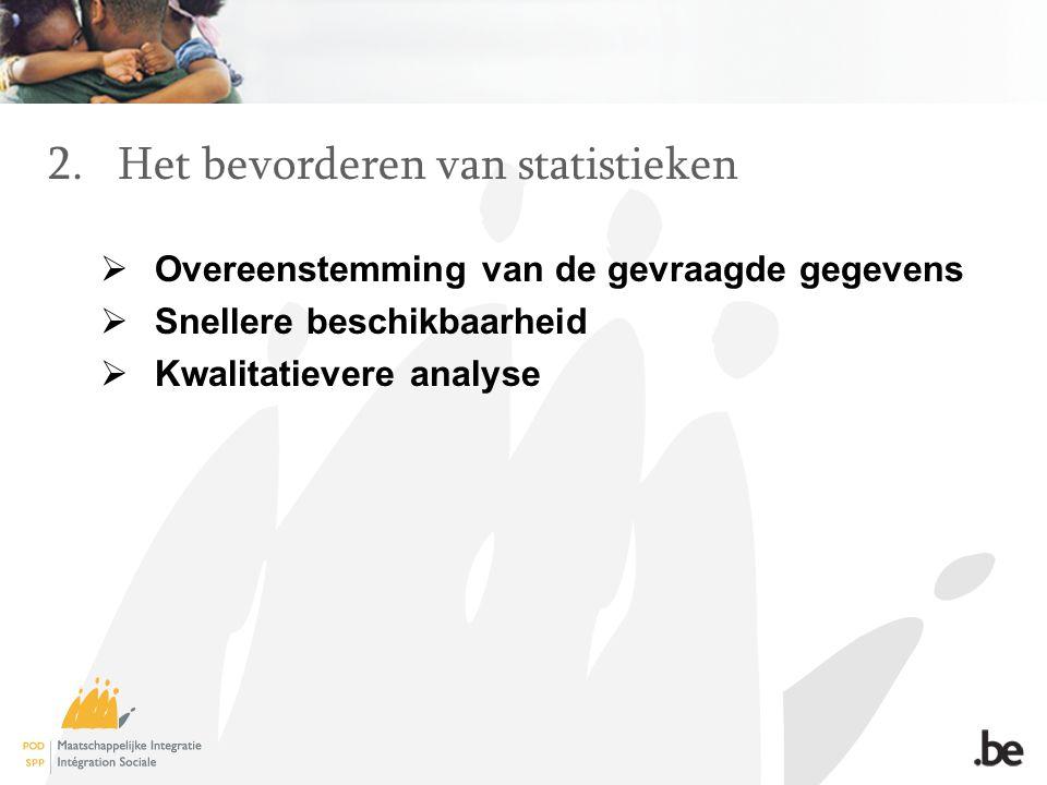 2.Het bevorderen van statistieken  Overeenstemming van de gevraagde gegevens  Snellere beschikbaarheid  Kwalitatievere analyse