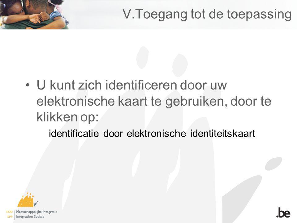 V.Toegang tot de toepassing U kunt zich identificeren door uw elektronische kaart te gebruiken, door te klikken op: identificatie door elektronische identiteitskaart
