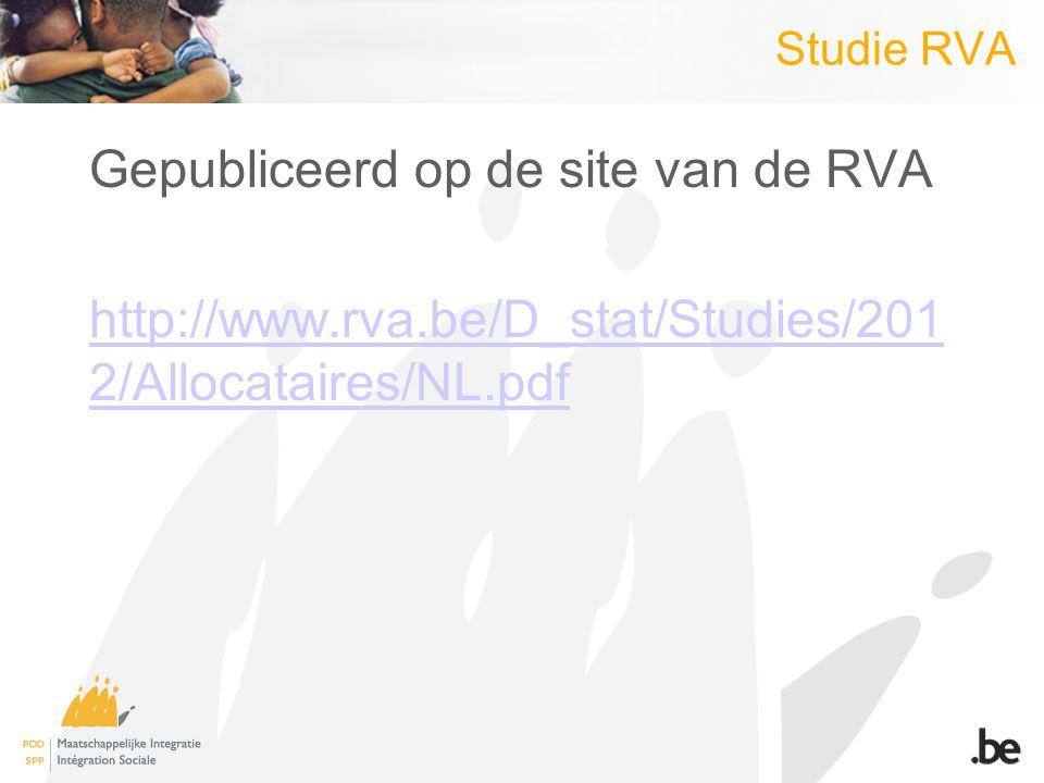 Studie RVA Gepubliceerd op de site van de RVA http://www.rva.be/D_stat/Studies/201 2/Allocataires/NL.pdf