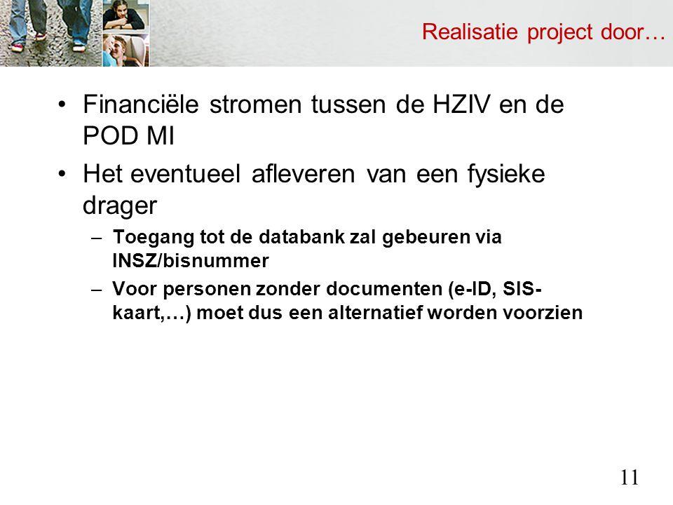 Realisatie project door… Financiële stromen tussen de HZIV en de POD MI Het eventueel afleveren van een fysieke drager –Toegang tot de databank zal gebeuren via INSZ/bisnummer –Voor personen zonder documenten (e-ID, SIS- kaart,…) moet dus een alternatief worden voorzien 11