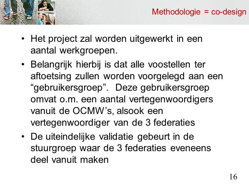 Methodologie = co-design Het project zal worden uitgewerkt in een aantal werkgroepen.