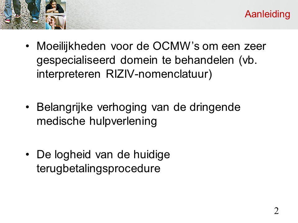 Aanleiding Moeilijkheden voor de OCMW's om een zeer gespecialiseerd domein te behandelen (vb.
