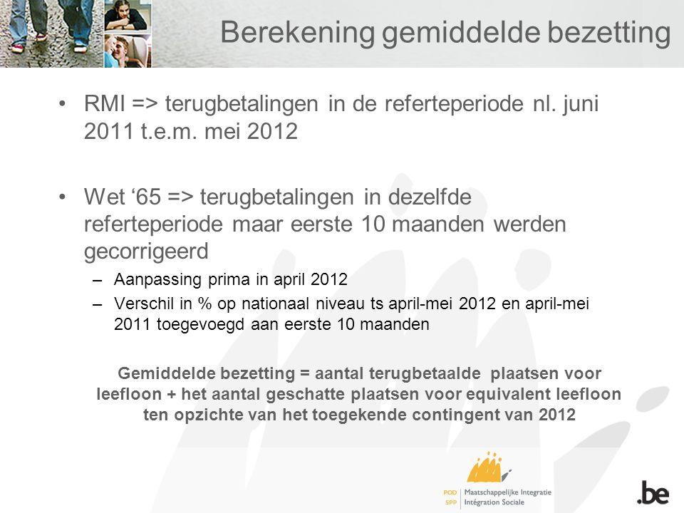 Berekening gemiddelde bezetting RMI => terugbetalingen in de referteperiode nl. juni 2011 t.e.m. mei 2012 Wet '65 => terugbetalingen in dezelfde refer