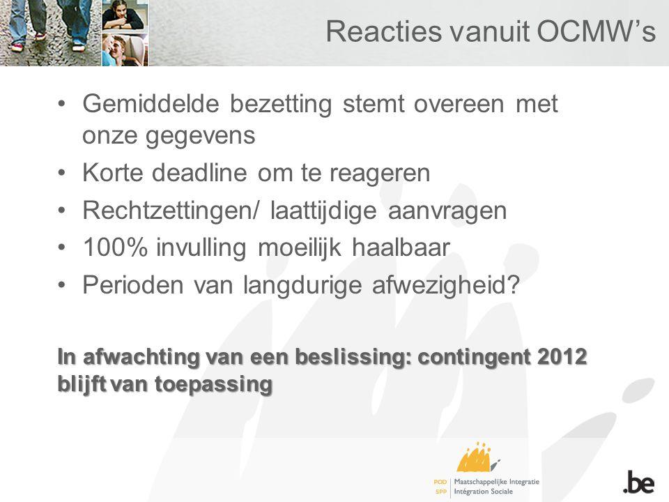 Reacties vanuit OCMW's Gemiddelde bezetting stemt overeen met onze gegevens Korte deadline om te reageren Rechtzettingen/ laattijdige aanvragen 100% invulling moeilijk haalbaar Perioden van langdurige afwezigheid.