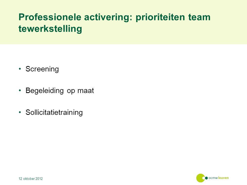 Professionele activering: prioriteiten team tewerkstelling Screening Begeleiding op maat Sollicitatietraining 12 oktober 2012
