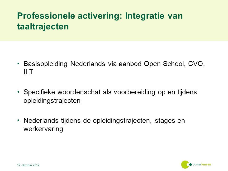 Professionele activering: Integratie van taaltrajecten Basisopleiding Nederlands via aanbod Open School, CVO, ILT Specifieke woordenschat als voorbere