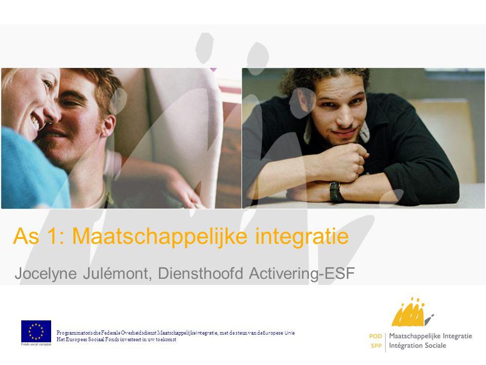 As 1: Maatschappelijke integratie Jocelyne Julémont, Diensthoofd Activering-ESF Programmatorische Federale Overheidsdienst Maatschappelijke Integratie, met de steun van de Europese Unie Het Europees Sociaal Fonds investeert in uw toekomst
