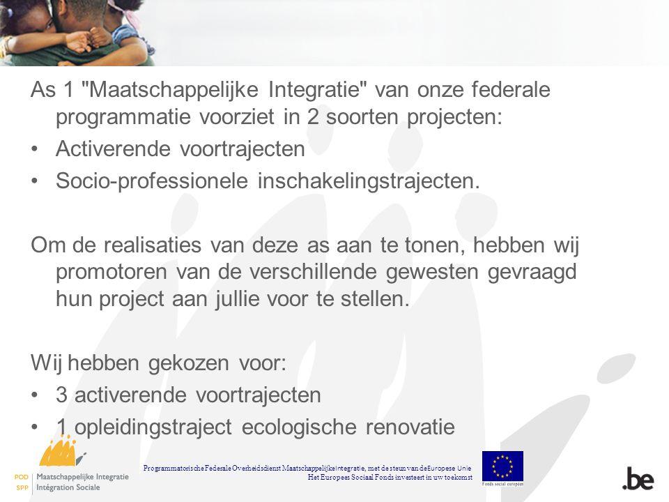 As 1 Maatschappelijke Integratie van onze federale programmatie voorziet in 2 soorten projecten: Activerende voortrajecten Socio-professionele inschakelingstrajecten.