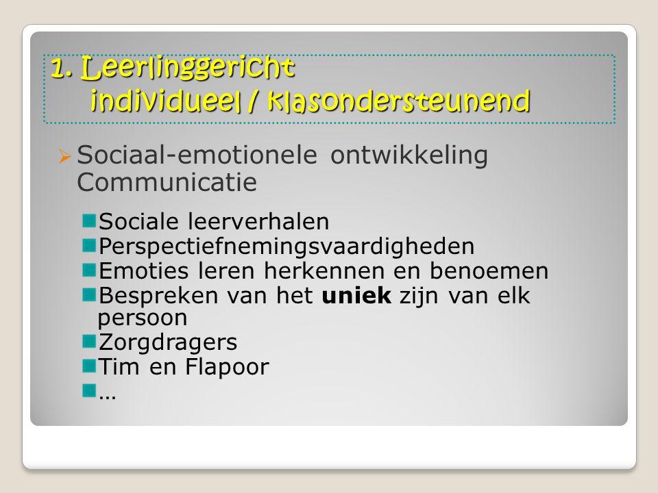 1. Leerlinggericht individueel / klasondersteunend  Sociaal-emotionele ontwikkeling Communicatie Sociale leerverhalen Perspectiefnemingsvaardigheden