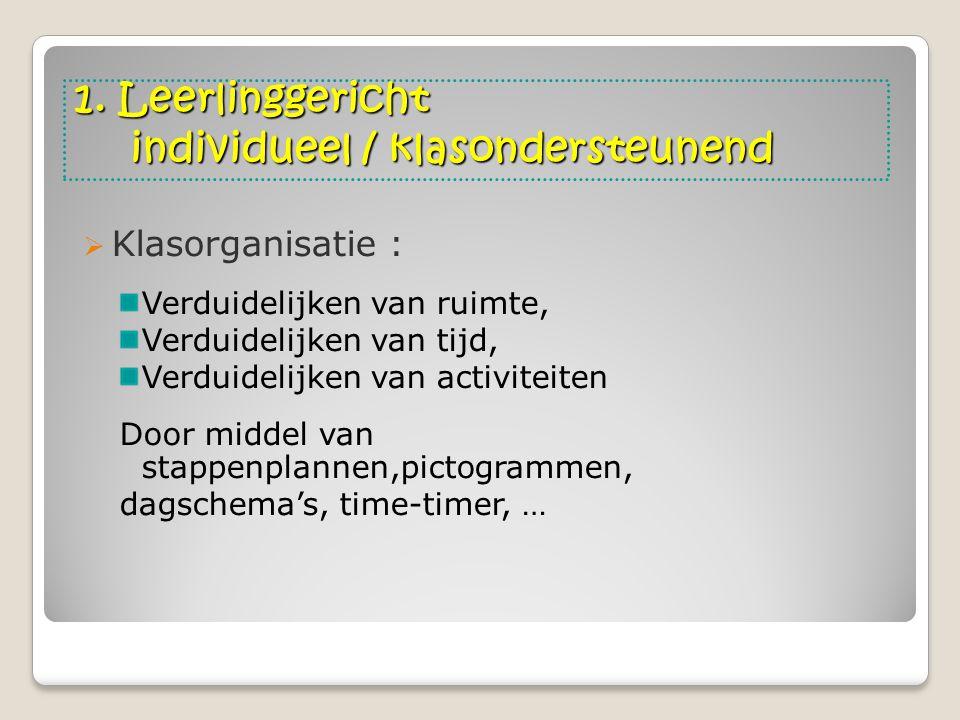 1. Leerlinggericht individueel / klasondersteunend  Klasorganisatie : Verduidelijken van ruimte, Verduidelijken van tijd, Verduidelijken van activite