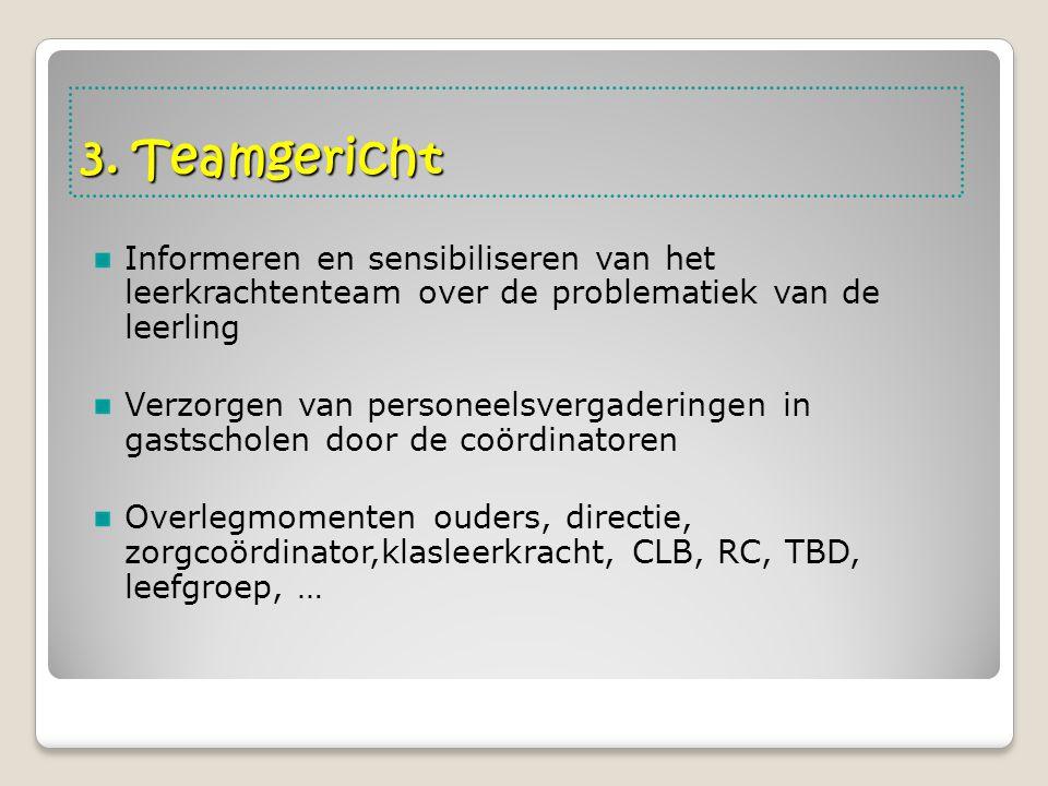 3. Teamgericht Informeren en sensibiliseren van het leerkrachtenteam over de problematiek van de leerling Verzorgen van personeelsvergaderingen in gas