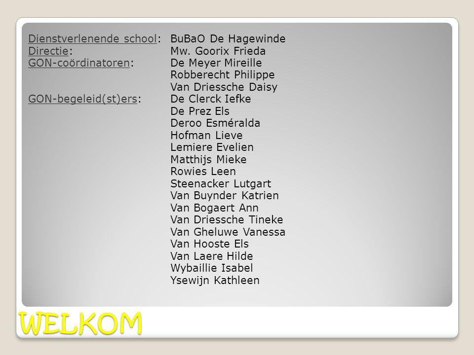 WELKOM Dienstverlenende school:BuBaO De Hagewinde Directie: Mw. Goorix Frieda GON-coördinatoren: De Meyer Mireille Robberecht Philippe Van Driessche D
