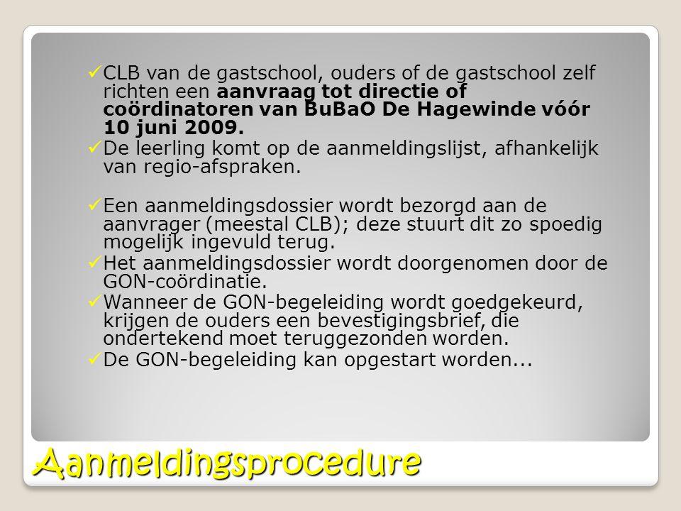 Aanmeldingsprocedure CLB van de gastschool, ouders of de gastschool zelf richten een aanvraag tot directie of coördinatoren van BuBaO De Hagewinde vóó
