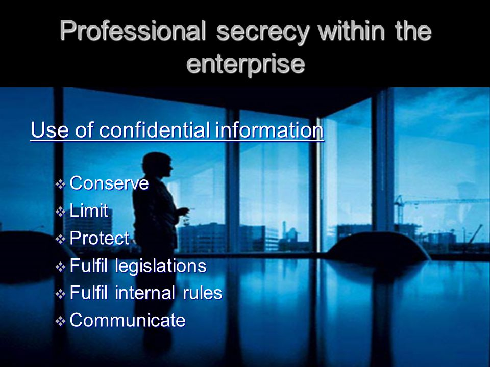 Professional secrecy within the enterprise  Already accessible information  Granted permission  Reference to own data  Legal and environmental laws  Judicial procedure  Administrative or political administrations Which information is public?
