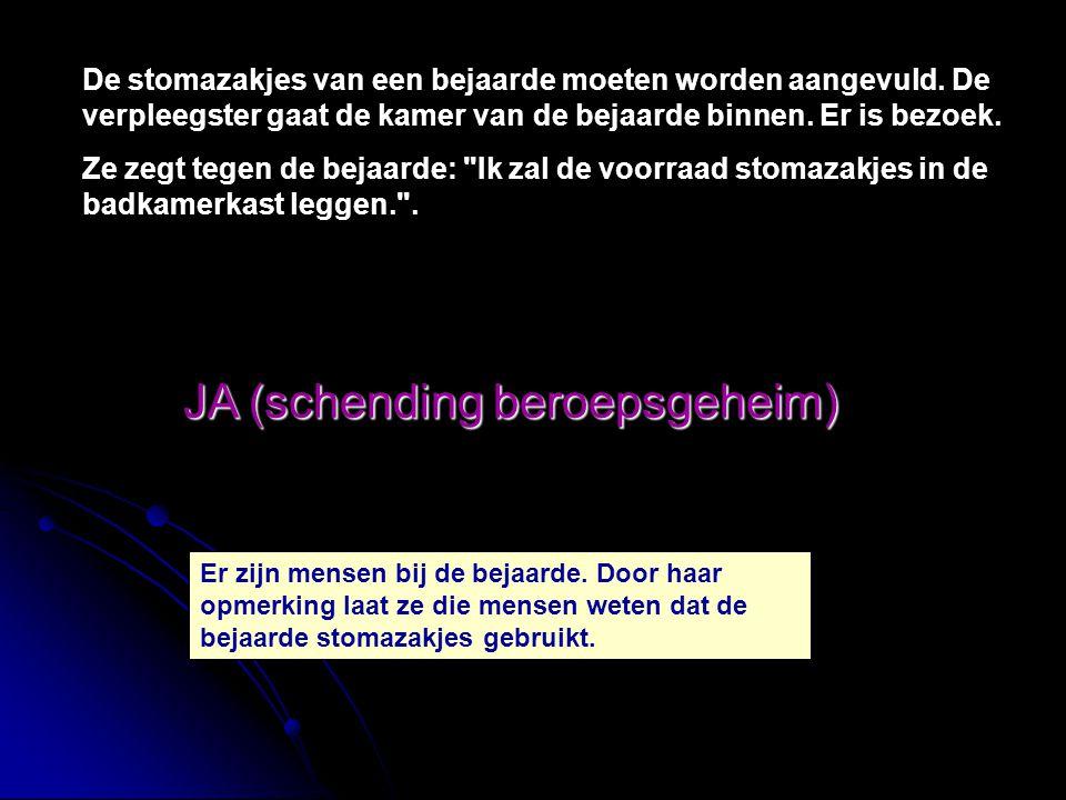 JA (schending beroepsgeheim) Je moet een observatieopdracht maken in je stageschrift.