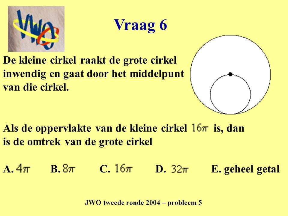 Vraag 6 JWO tweede ronde 2004 – probleem 5 A. B. C. D. E. geheel getal De kleine cirkel raakt de grote cirkel inwendig en gaat door het middelpunt van
