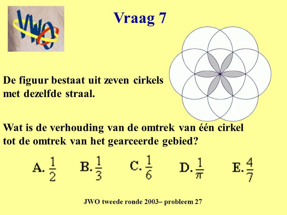 Vraag 7 JWO tweede ronde 2003– probleem 27 De figuur bestaat uit zeven cirkels met dezelfde straal. Wat is de verhouding van de omtrek van één cirkel