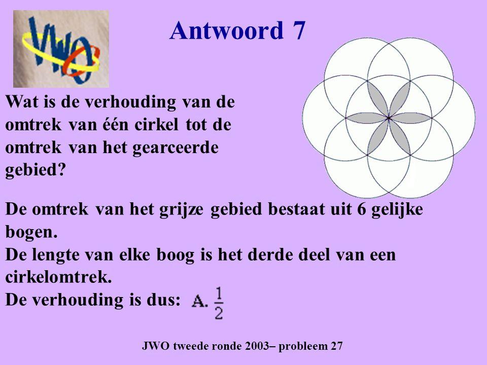 Antwoord 7 JWO tweede ronde 2003– probleem 27 De omtrek van het grijze gebied bestaat uit 6 gelijke bogen. De lengte van elke boog is het derde deel v