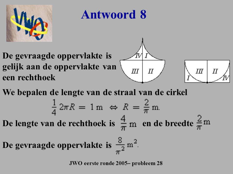 Antwoord 8 JWO eerste ronde 2005– probleem 28 De gevraagde oppervlakte is gelijk aan de oppervlakte van een rechthoek We bepalen de lengte van de stra