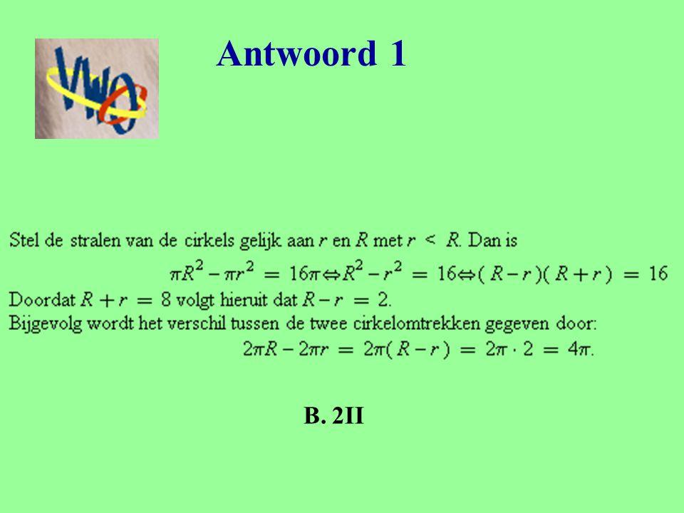 Vraag 2 JWO eerste ronde 2006 – probleem 30 Uit een rechthoek met zijden 1 en 3 snijdt men drie rakende cirkelschijven met maximale straal (zoals op de figuur) Welke oppervlakte blijft er dan over?