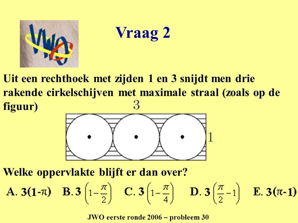 Vraag 2 JWO eerste ronde 2006 – probleem 30 Uit een rechthoek met zijden 1 en 3 snijdt men drie rakende cirkelschijven met maximale straal (zoals op d