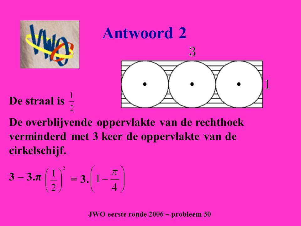 Vraag 3 JWO tweede ronde 2003 – probleem 10 Vijf concentrische cirkels met stralen 1,2,3,4 en 5 worden door vijf middellijnen in tien gelijke delen verdeeld.