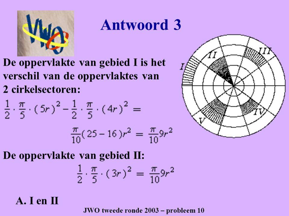 Antwoord 8 JWO eerste ronde 2005– probleem 28 De gevraagde oppervlakte is gelijk aan de oppervlakte van een rechthoek We bepalen de lengte van de straal van de cirkel De lengte van de rechthoek is en de breedte De gevraagde oppervlakte is