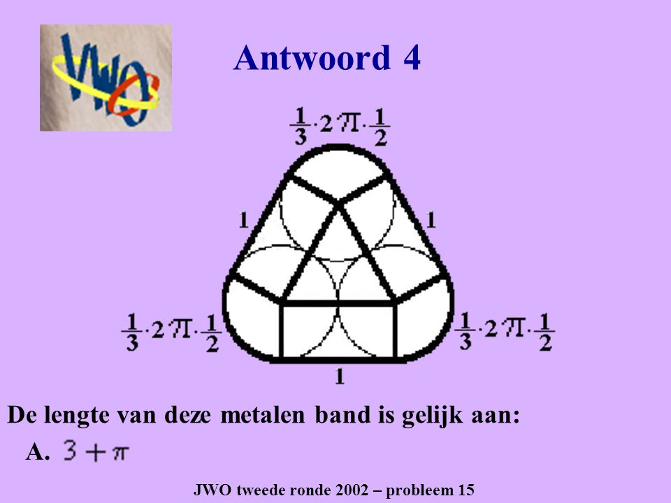 Antwoord 4 JWO tweede ronde 2002 – probleem 15 A. De lengte van deze metalen band is gelijk aan: